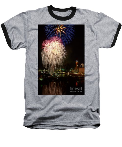 21l106 Red White And Boom Fireworks Photo Baseball T-Shirt