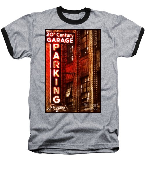 24-hour Garage Baseball T-Shirt by Miriam Danar