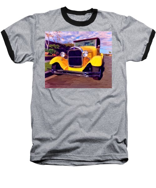 Baseball T-Shirt featuring the painting '28 Ford Pick Up by Michael Pickett