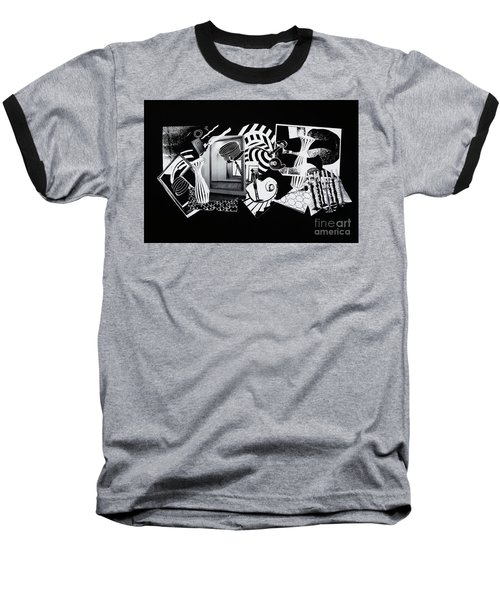 Baseball T-Shirt featuring the mixed media 2d Elements In Black And White by Xueling Zou