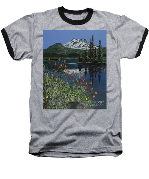 Baseball T-Shirt featuring the painting A Peaceful Place by Jennifer Lake