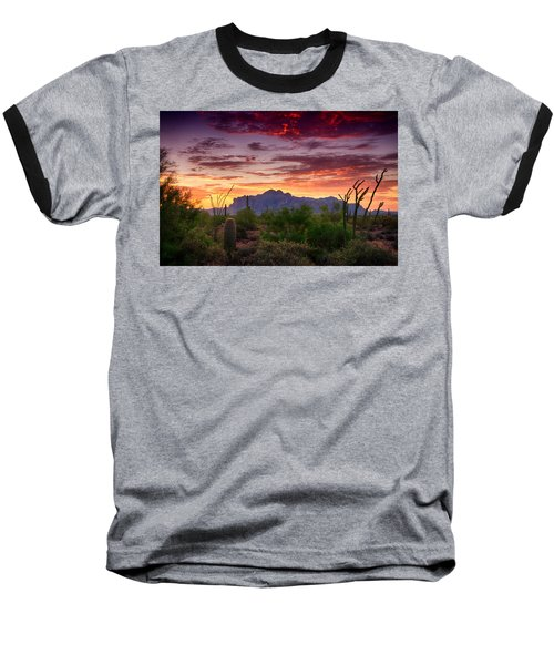 A Superstition Sunrise  Baseball T-Shirt by Saija  Lehtonen