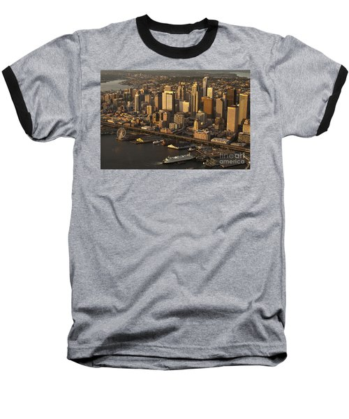 Aerial View Of Seattle Skyline Along Waterfront Baseball T-Shirt