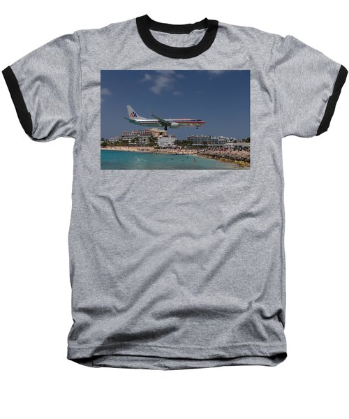 American Airlines At St. Maarten  Baseball T-Shirt by David Gleeson