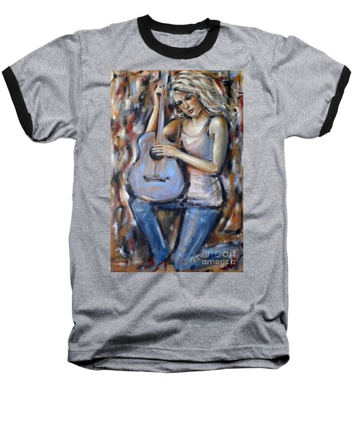 Baseball T-Shirt featuring the painting Blue Guitar 010709 by Selena Boron