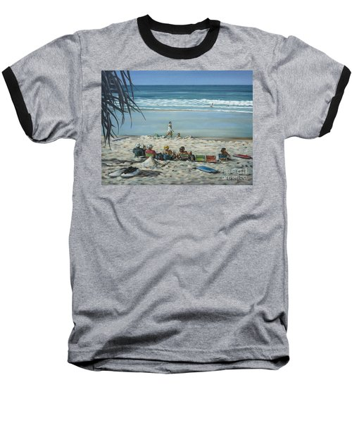Baseball T-Shirt featuring the painting Burleigh Beach 220909 by Selena Boron