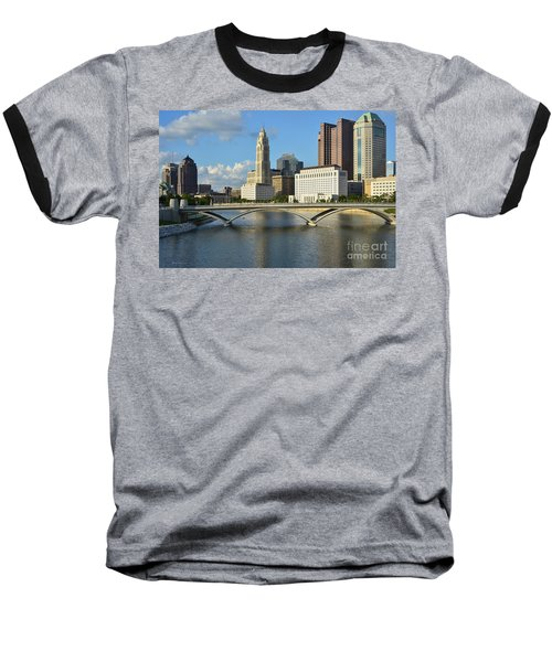 Columbus Ohio Skyline Photo Baseball T-Shirt