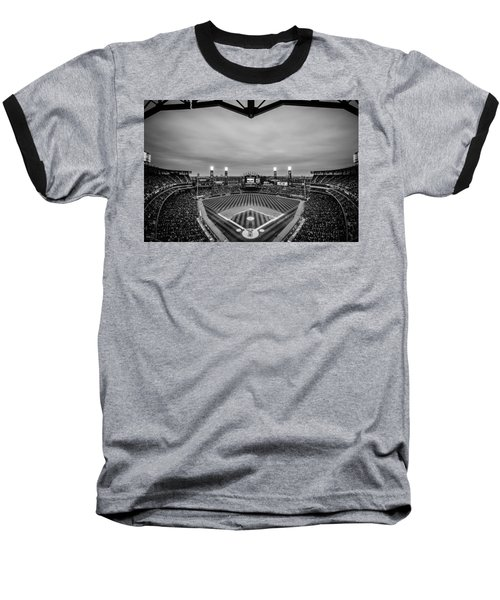 Comiskey Park Night Game - Black And White Baseball T-Shirt