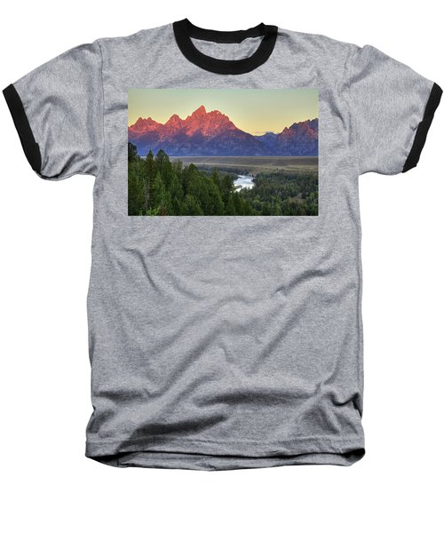 Baseball T-Shirt featuring the photograph Grand Tetons Morning At The Snake River Overview - 2 by Alan Vance Ley