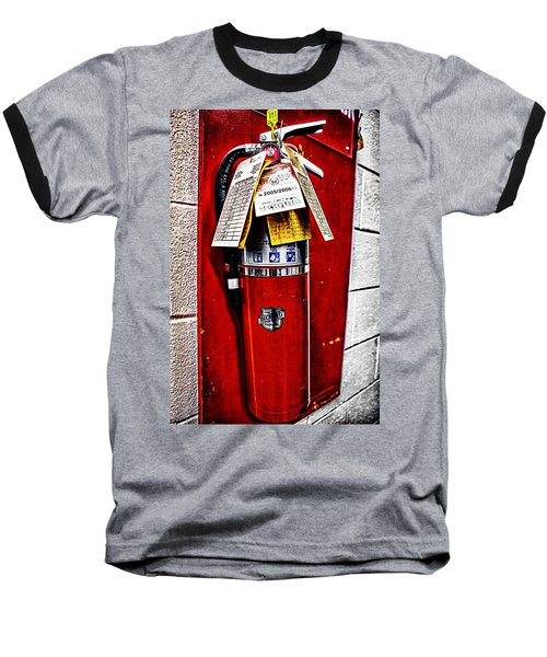 Grungy Fire Extinguisher Baseball T-Shirt
