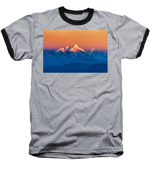 Himalayan Mountains View From Mt. Shivapuri Baseball T-Shirt by Ulrich Schade