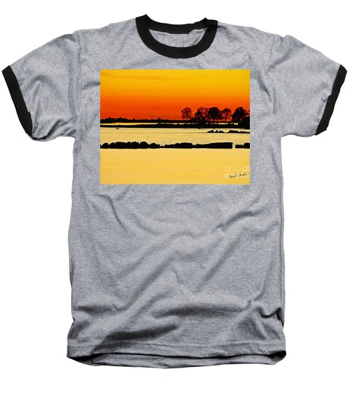Ocean Beach Sunset Baseball T-Shirt