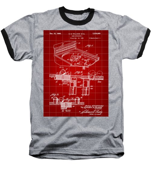 Pinball Machine Patent 1939 - Red Baseball T-Shirt