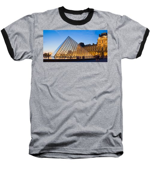 Pyramid In Front Of A Museum, Louvre Baseball T-Shirt by Panoramic Images
