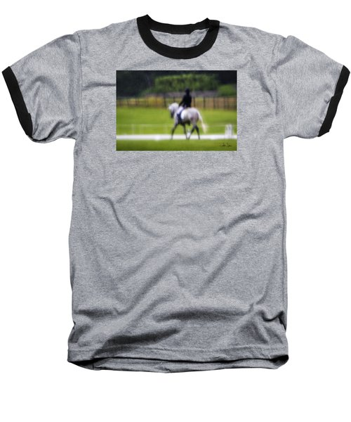 Baseball T-Shirt featuring the photograph Rainy Day Dressage by Joan Davis