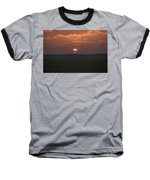 The Setting Sun In The Distance With Clouds Baseball T-Shirt