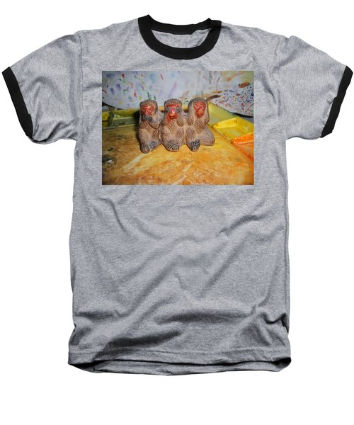 3 Wise Monkeys Watercolor Pallet Baseball T-Shirt
