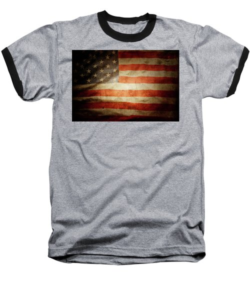 American Flag  Baseball T-Shirt by Les Cunliffe