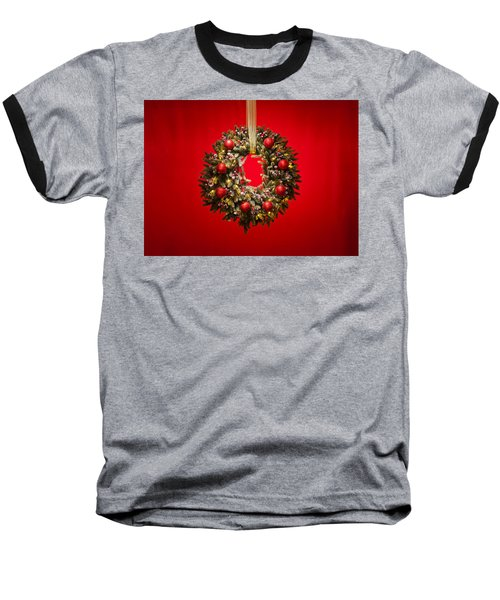 Advent Wreath Over Red Background Baseball T-Shirt