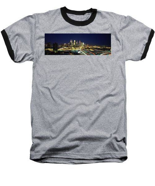Buildings Lit Up At Night In A City Baseball T-Shirt