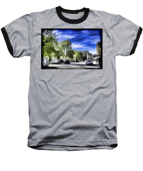 Cars On A Street In Edinburgh Baseball T-Shirt