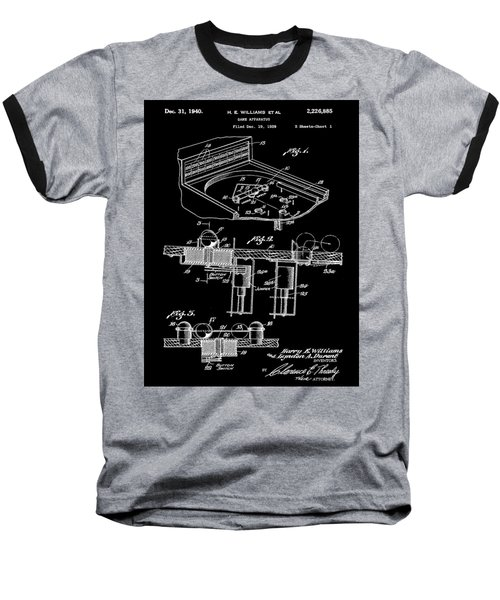 Pinball Machine Patent 1939 - Black Baseball T-Shirt by Stephen Younts