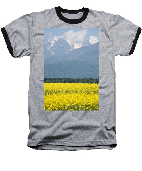 rapeseed field in Brnik with Kamnik Alps in the background Baseball T-Shirt