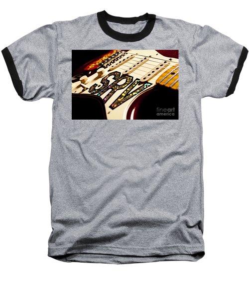 Replica Stevie Ray Vaughn Electric Guitar Artistic Baseball T-Shirt by Jani Bryson
