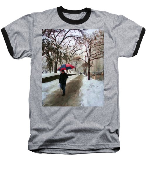 Snowfall In Central Park Baseball T-Shirt