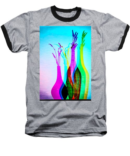 4 Vases In Colored Light Silhouettes Baseball T-Shirt
