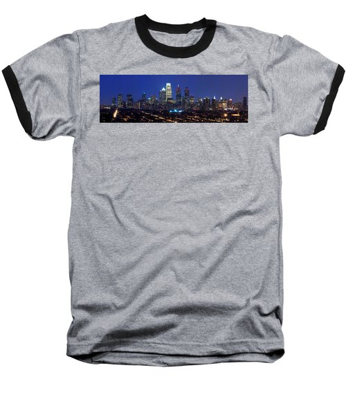 Buildings Lit Up At Night In A City Baseball T-Shirt by Panoramic Images