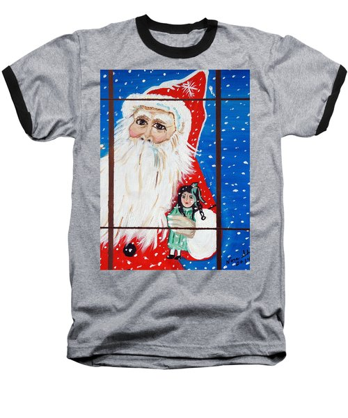 Baseball T-Shirt featuring the painting Christmas Card by Nora Shepley