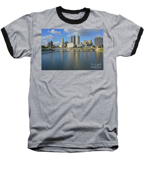 Fx1l-802 Columbus Ohio Skyline Photo Baseball T-Shirt