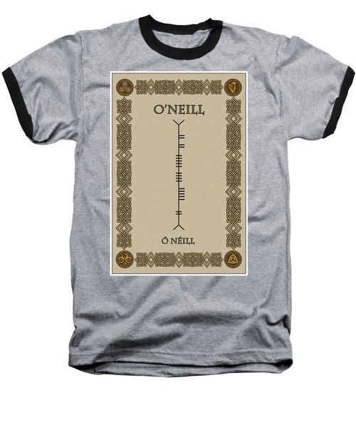 Baseball T-Shirt featuring the digital art O'neill Written In Ogham by Ireland Calling
