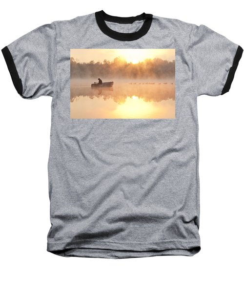 Sunrise In Fog Lake Cassidy With Fisherman In Small Fishing Boat Baseball T-Shirt