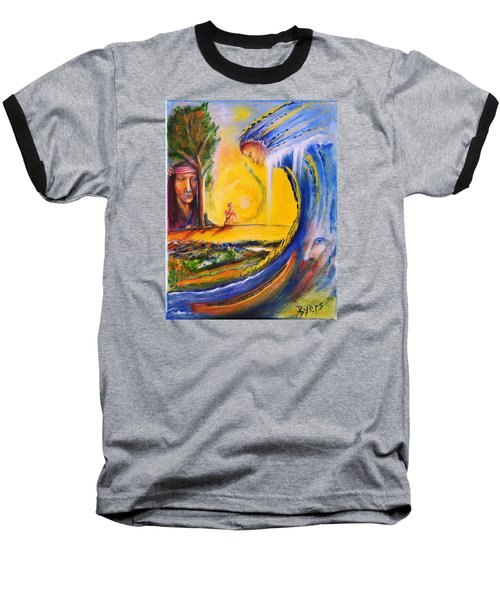 Baseball T-Shirt featuring the painting The Island Of Man by Kicking Bear  Productions