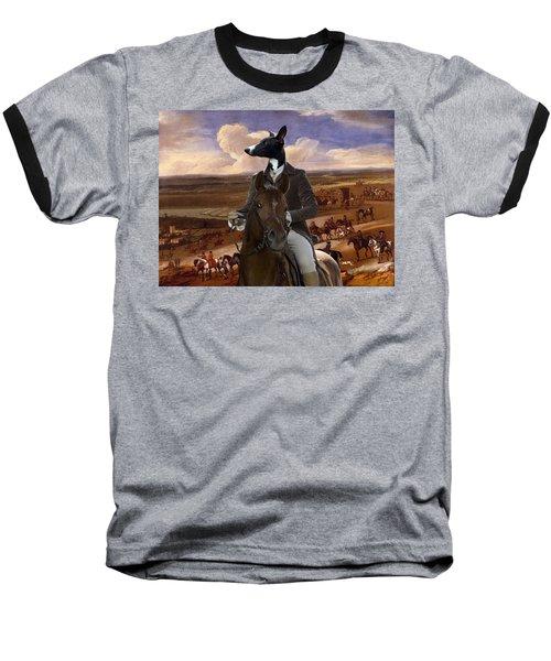 Whippet  Art Canvas Print Baseball T-Shirt