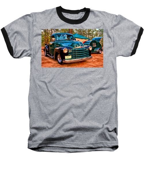 Baseball T-Shirt featuring the painting '51 Chevy Pickup With Teardrop Trailer by Michael Pickett