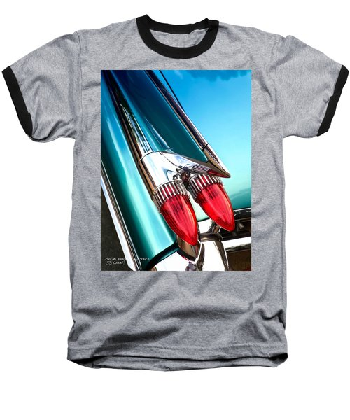 Baseball T-Shirt featuring the photograph '59  Caddy Tail Fins by David Perry Lawrence
