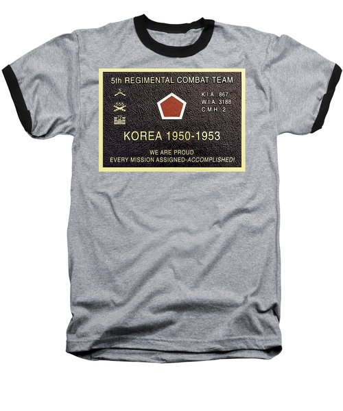 5th Regimental Combat Team Arlington Cemetary Memorial Baseball T-Shirt by Bob and Nadine Johnston