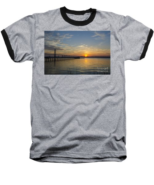 Baseball T-Shirt featuring the photograph Arthur Ravenel Bridge Tranquil Sunset by Dale Powell