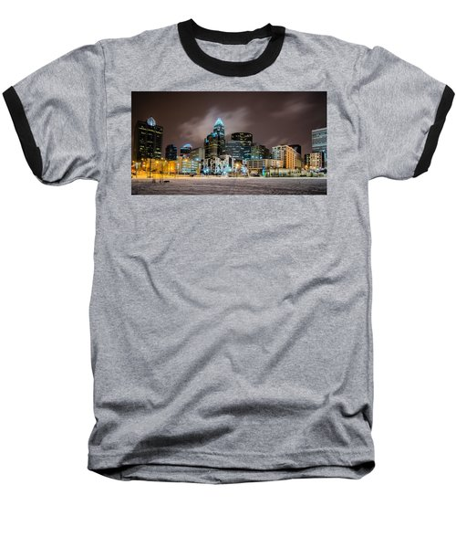 Baseball T-Shirt featuring the photograph Charlotte Queen City Skyline Near Romare Bearden Park In Winter Snow by Alex Grichenko