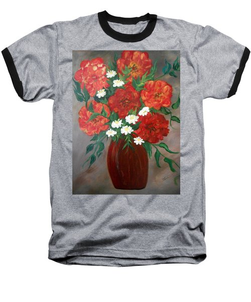 Baseball T-Shirt featuring the painting 6 Flowers by Cynthia Amaral