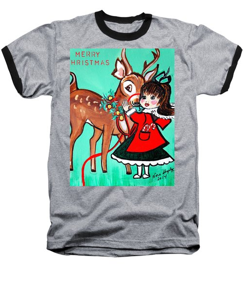 Little Girl With Reindeer Baseball T-Shirt