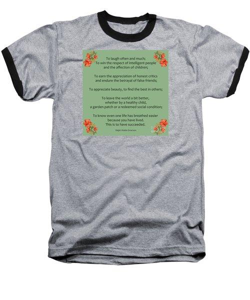 75- Ralph Waldo Emerson Baseball T-Shirt by Joseph Keane