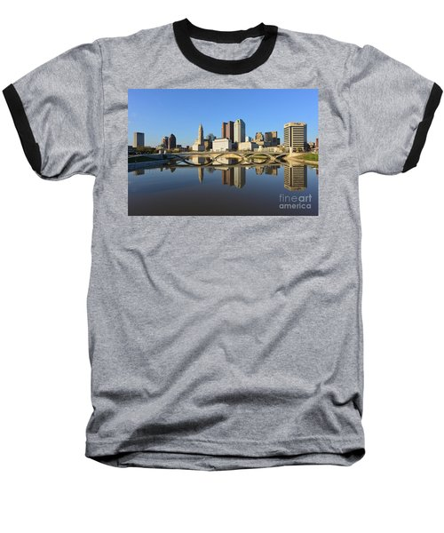 Fx1l-1058 Columbus Ohio Skyline Photo Baseball T-Shirt