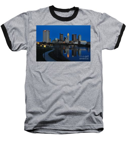 Columbus Ohio Skyline At Night Baseball T-Shirt
