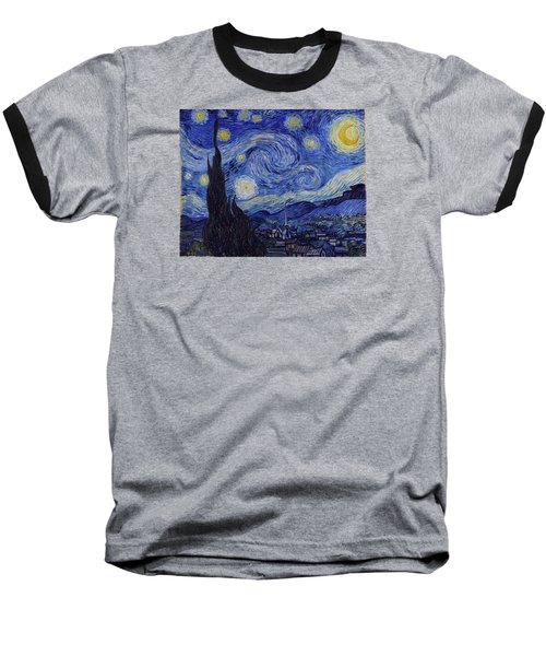 Starry Night Baseball T-Shirt by Vincent Van Gogh