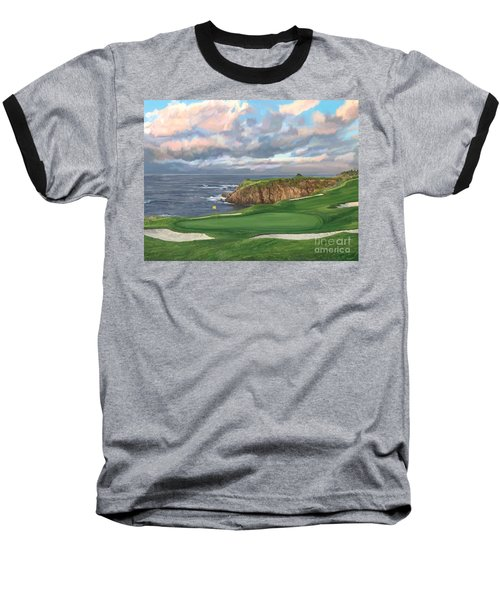 8th Hole Pebble Beach Baseball T-Shirt by Tim Gilliland