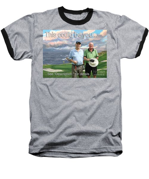 Baseball T-Shirt featuring the painting 8th Hole Pebble Beach by Tim Gilliland